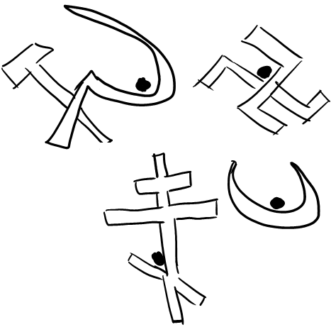 Representations of `stable ideas` on a hammer and a sickle, swastika, the orthodox cross and the crescent