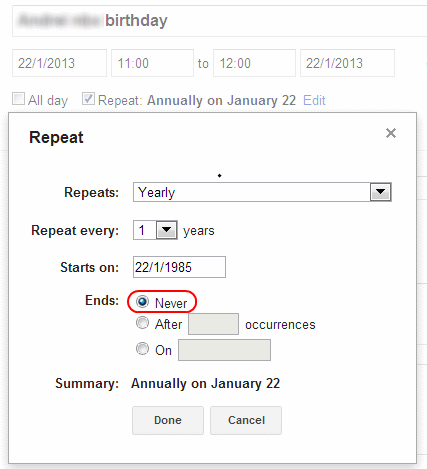 A screenshot of a calendar application that shows that a birthday will repeat forever