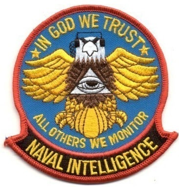 Naval intelligence seal, an eagle that intercepts communications