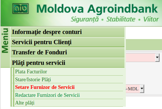 Banking interface screenshot, Agroindbank
