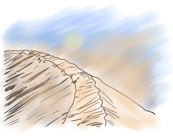A hand-drawn sandstorm that blocks the sun and the blue sky
