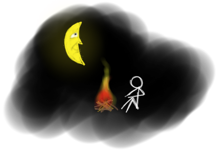 A person warming themselves at a fire, during the night; the moon shines in the backround