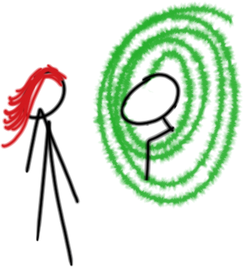 A guy facing a girl on the other side of a portal